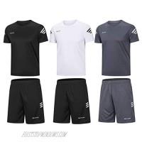 BUYJYA Men's Active Athletic Shorts Shirt Set 3 Pack for Workouts Basketball Football Exercise Training Running