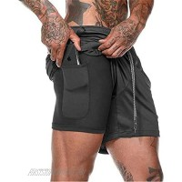 CYF Men's 2 in 1 Running Shorts with Pockets Quick Dry Breathable Active Gym Workout Shorts