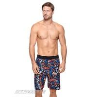 "Reebok Men's Swimwear Venice 9"" Jacquard E-Board UPF 50 Drawcord Swim Shorts"