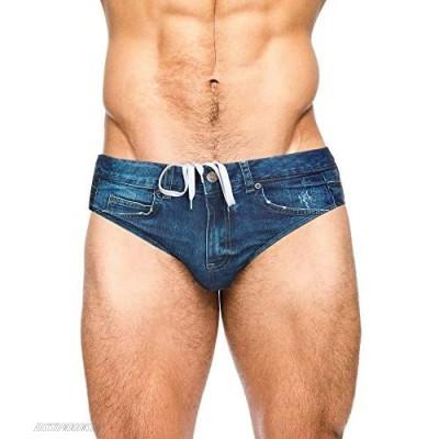 PJ PAUL JONES Men's Swim Brief Denim Print Swim Trunks Drawstring Waist Swimsuit Bikini Briefs