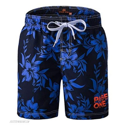 PAGE ONE Mens Beach Shorts Quick Dry Surfing Swim Trunks with Full Mesh Lining with Pockets