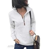 CALOER Women Lightweight Zip Pullover Sweatshirt Long Sleeve Quarter Shirts Tops with Pocket