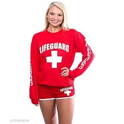 LIFEGUARD Red Crew Neck Sweatshirt for Women Teen & Girls Ladies.