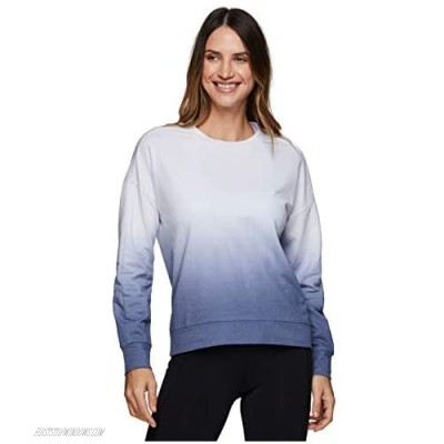 RBX Active Women's Fashion Athleisure Long Sleeve French Terry Lightweight Pullover Sweatshirt