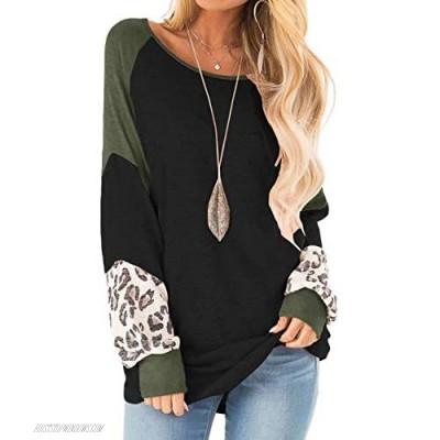 Yanekop Womens Color Block Pullover Leopard Print Sweatshirt Raglan Long Sleeve Loose Tunic Shirts Tops