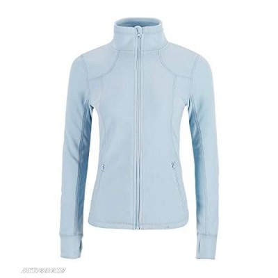 Dolcevida Women's Lightweight Soft Fleece Athletic Running Track Jackets Slim Fit Workout Jacket with Thumb Holes