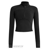 PEHMEA Women's Casual Yoga Jacket Slim Fit Long Sleeve Half-Zip Workout Athletic Track Tops