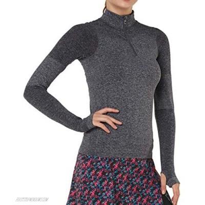 Slimour Women Quarter Zip Pullover Running Shirts Long Sleeve Activewear Tops Tight Workout