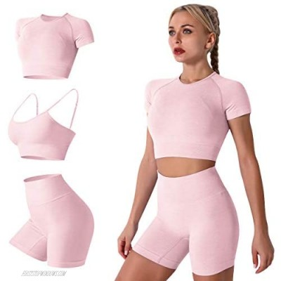 Women 2 Pieces Yoga Workout Outfit Seamless Sports Bra Crop Top + High Waist Leggings Shorts Athletic Gym Clothes Set