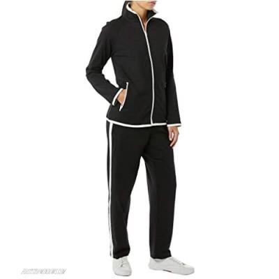 Women's Striped Sweat Suit Set – 100% Cotton Pants and Jacket Outfit Black/White 02X