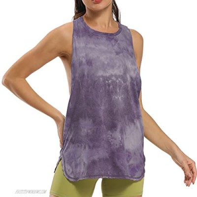 CAPER Workout Tops for Women Tie dye Sleeveless Shirt Tank Athletic Yoga Tops Running Exercise Gym Shirts