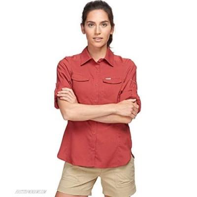 Columbia Women's Silver Ridge Lite Plaid Long Sleeve Wicking Shirt Dusty Crimson Medium