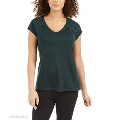 Ideology Womens Essential Heathered V-Neck Pullover Top Green XL
