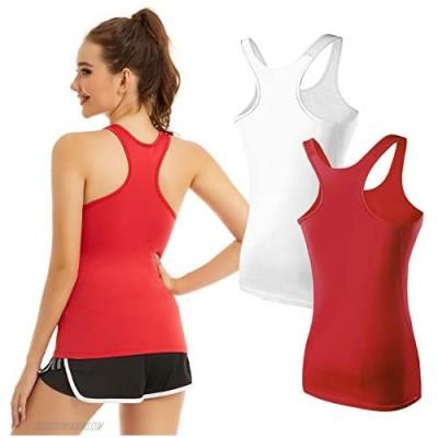 KMISUN Workout Tank Tops for Women Racerback Yoga Camisole Sleeveless Tops Running Athletic Shirt 1/2/3 Pack