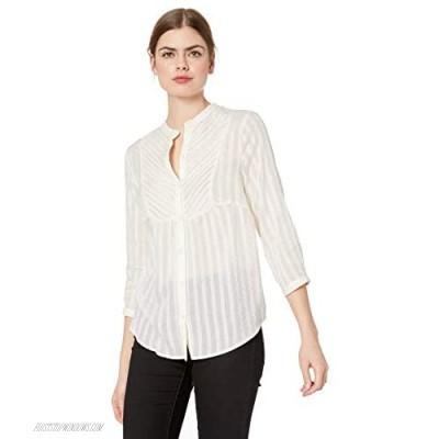Lucky Brand Women's Button Up Bib Peasant Top