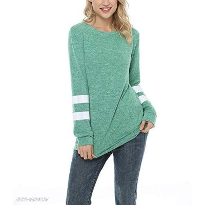 Women's Long Sleeve Crewneck Sweatshirts Casual T Shirts Comfy Stretch Tunic Tops Color Block Striped Loose Blouses