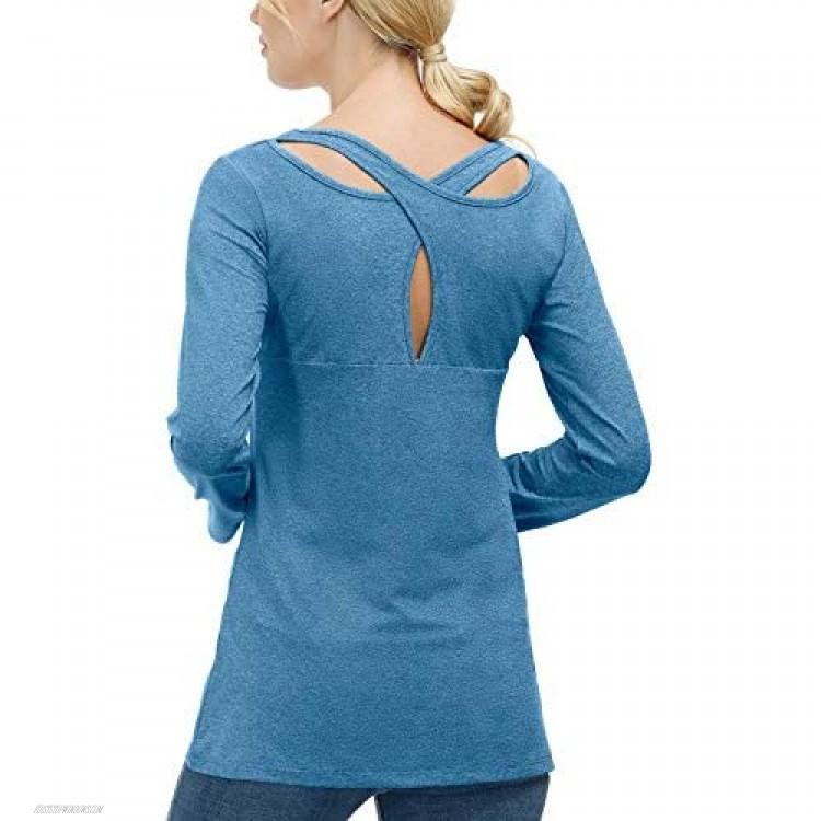 Womens Yoga Tops Long Sleeve Workout Shirt Casual Chris Cross Back Yoga Shirt