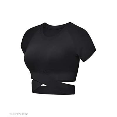 YMING Womens Yoga Crop Top Short Sleeve Workout Crop Shirt Gym Clothes