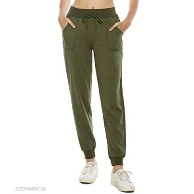 AvaCostume Women's Cotton Stretch Active Jersey Jogger Pants with Pockets
