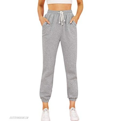 Floerns Women's Casual Solid Drawstring High Waist Joggers Sweatpants with Pockets