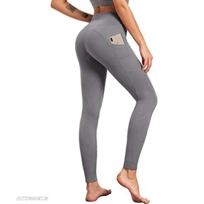 LOGEEYAR Yoga Pants for Women High Waist Tummy Control Workout Leggings with Pockets Seamless Compression Leggings (Grey XX-Large)