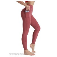 Women's Sports Yoga Pants Opaque Sports Pants with Pockets Belly Control High Waist Sports Leggings for Girls (Dark Red Large)