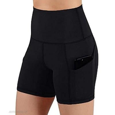 HZ20LBG Biker Shorts for Women High Waist Yoga Shorts with Pockets for Biker Running Exercise Shorts Side Pockets Biker Pants