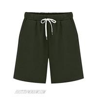 Sobrisah Women's Casual Drawstring Elastic Waist Soft Knit Jersey Bermuda Shorts with Pockets Army Green-3XL