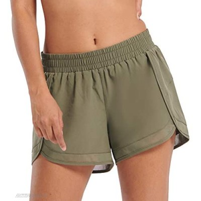 Women's Quick-Dry Workout Sports Running Yoga Athletic Shorts Built-in Panties (GFDS001 Green S)
