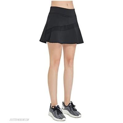 EZ-Joyce Women's Pleated Tennis&Golf Skort Mesh Splicing Running Skirt with Pockets Built in Shorts