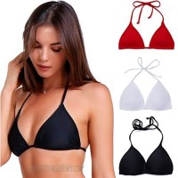 COLO Women Triangle Bikini Top Push up Padded V-Neck Lace-up Basic Swimsuit Top Black White Red
