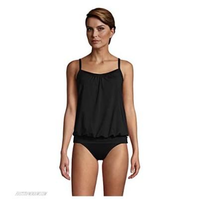 Lands' End Women's Blouson Tummy Hiding Tankini Top Swimsuit Adjustable Straps