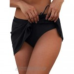 Byoauo Women's Swim Skirt Solid Ruched Swimsuits Side Slit Pull Tie Bikini Bottom