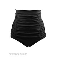 DANIFY Plus Size Black High Waisted Bikini Bottom Tummy Control Ruched Swimsuit Bottoms for Women