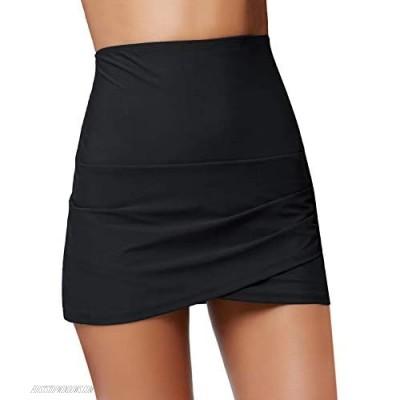 Luyeess Women's High Waisted Tulip Hem Swim Skirt Bikini Tankini Swimsuit Bottom