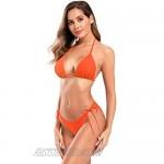SHEKINI Women's Halter Triangle Bikini Shirred Bathing Suit Tie Side Bottom