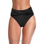 SHEKINI Women's Twist Front Bikini Bottom High Cut Waisted Swim Bottoms