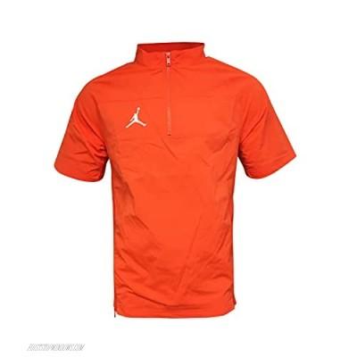 Nike Men's Short Sleeve 1/4 Zip Hot Jacket Nylon/Spandex Blend Jordan Jumpman Woven Short Sleeve Hot Jacket Orange (Medium)
