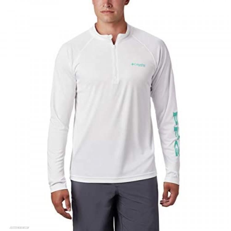 Columbia Men's Terminal Tackle 1/4 Zip White/Bright Aqua Logo 1X