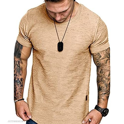 Mens Short Sleeve Muscle Gym Workout Athletic Slim Fit Basic T-Shirts Summer Soft Tops Khaki